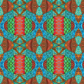 Doodle Patchwork--Red and Green