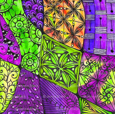 Doodle patchwork--purple and green