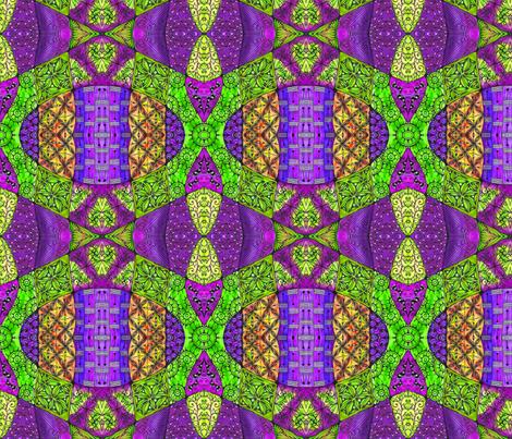 Doodle patchwork--purple and green fabric by jennablackzen on Spoonflower - custom fabric