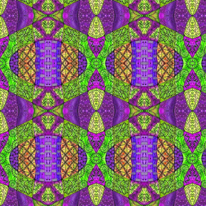 Patchwork 3 green and purple