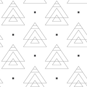 Abstract pattern with geometric figures. Black and white.