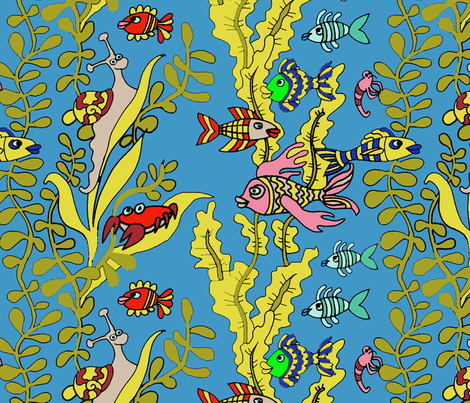 Garden Pond Naive Water Creatures fabric by palusalu on Spoonflower - custom fabric