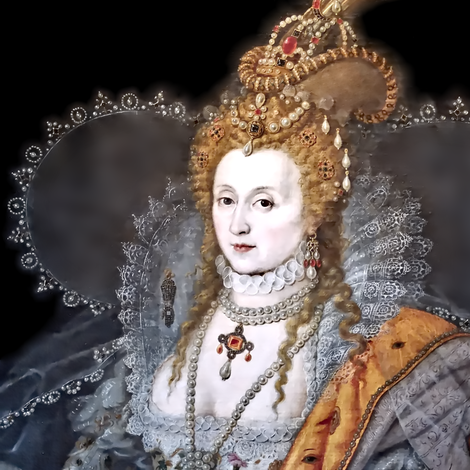 Queen Elizabeth 1 princesses Queens renaissance tudor big lace ruff collar baroque pearls silver gown crowns tiaras rubies ruby england britain beauty elizabethan era 16th century 17th century historical embroidery ornate royal portraits beautiful woman l fabric by raveneve on Spoonflower - custom fabric