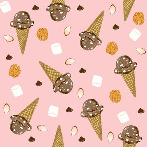 ice cream cone rocky road summer foods fabric pink