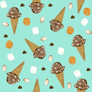 ice cream cone rocky road summer foods fabric mint