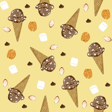 ice cream cone rocky road summer foods fabric yellow fabric by charlottewinter on Spoonflower - custom fabric
