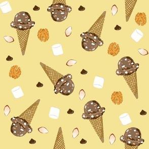 ice cream cone rocky road summer foods fabric yellow
