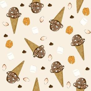 ice cream cone rocky road summer foods fabric beige