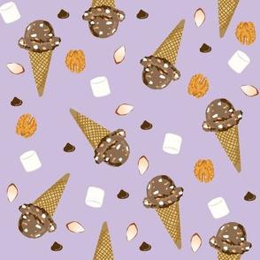 ice cream cone rocky road summer foods fabric purple