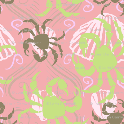 Crabs and Shells2 pink png