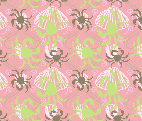 Crabs and Shells2 pink png fabric by lorloves_design on Spoonflower - custom fabric