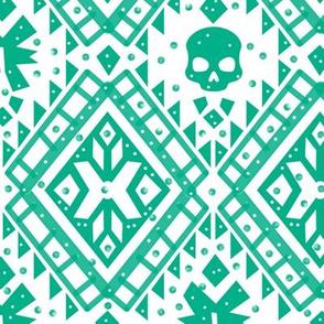 Boho Skull Teal/White