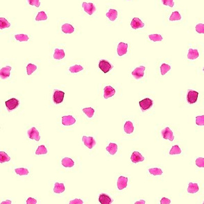 Pink on cream watercolor stains || polka dot pattern for nursery, baby girl