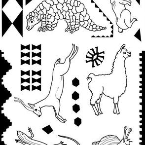 Land Animals Black/White