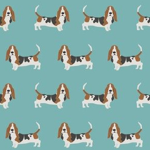 basset hound standing dog breed fabric teal