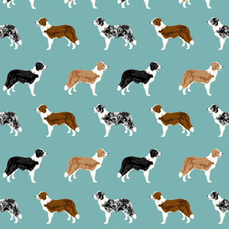 border collie mixed coats dog breed fabric blue green fabric by petfriendly on Spoonflower - custom fabric