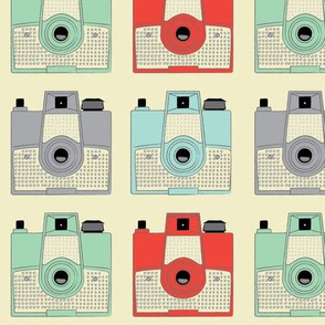 vintage brownie cameras on cream