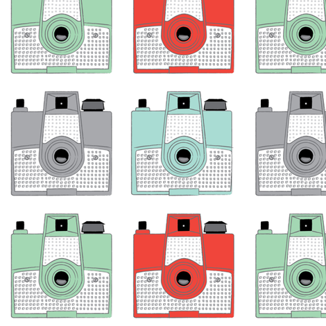 vintage brownie cameras on white fabric by lilcubby on Spoonflower - custom fabric