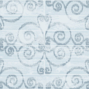 Wooden Diamond Scrolled Ikat Blue Sky