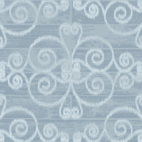 Wooden Diamond Scrolled Ikat Sky Blue