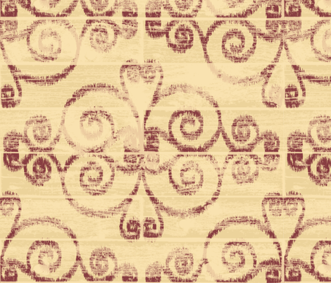 Wooden Diamond Scrolled Ikat Butter Brick fabric by wickedrefined on Spoonflower - custom fabric