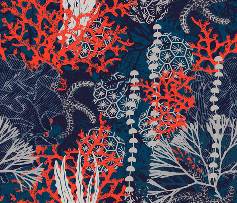 Corals and Starfish  fabric by chicca_besso on Spoonflower - custom fabric