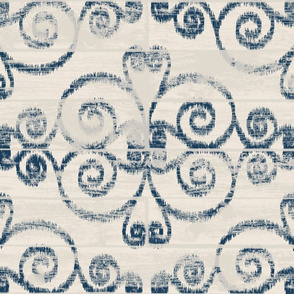 Wooden Diamond Scrolled Ikat Cream Navy