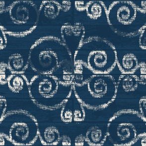 Wooden Diamond Scrolled Ikat Navy Cream