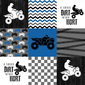 4 Wheel/ATV/A little Dirt Never Hurt - Wholecloth Cheater Quilt - Blue