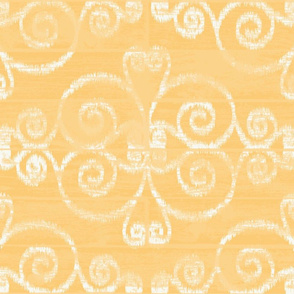 Wooden Diamond Scrolled Ikat Golden Off White