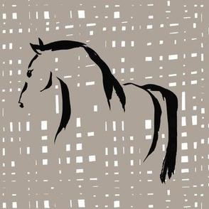 wild horse, beige, black and white mosaik
