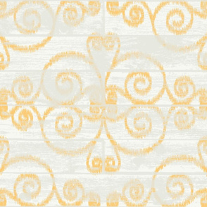 Wooden Diamond Scrolled Ikat Off White Golden
