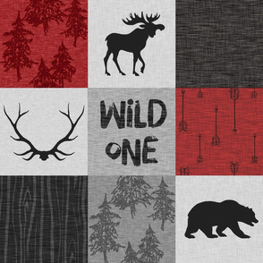 Wild One Quilt A - Red, Black And grey - woodland moose