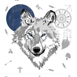 """42""""x72"""" Boys Boho Wolf"""