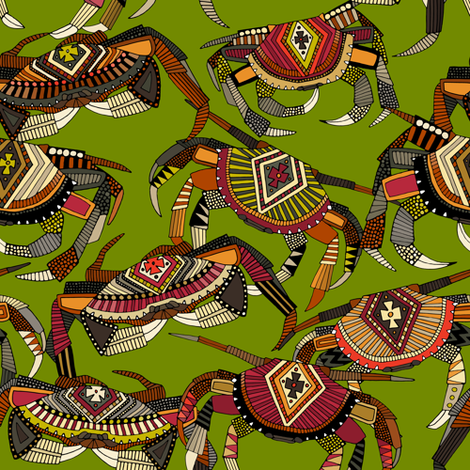 crabs lime small fabric by scrummy on Spoonflower - custom fabric