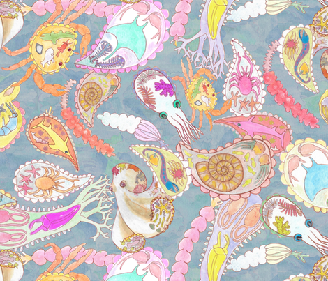 Teeming Paisley Sea Large fabric by bloomingwyldeiris on Spoonflower - custom fabric