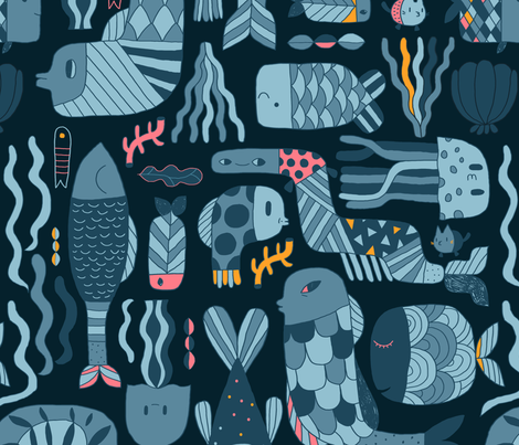 Doodle_fish_pattern fabric by kostolom3000 on Spoonflower - custom fabric