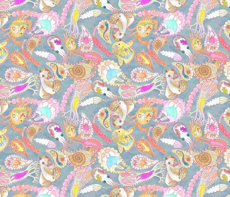 Blue-grey Teeming Paisley Sea Small fabric by bloomingwyldeiris on Spoonflower - custom fabric