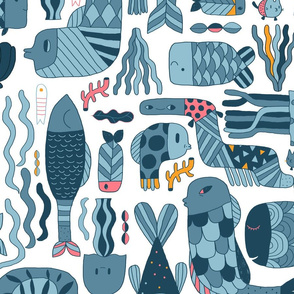 Doodle fish pattern. Blue and white