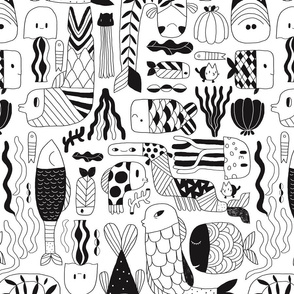 Doodle fish pattern. Black and white