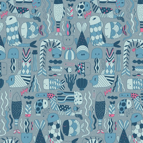 Doodle fish pattern. Blue grey