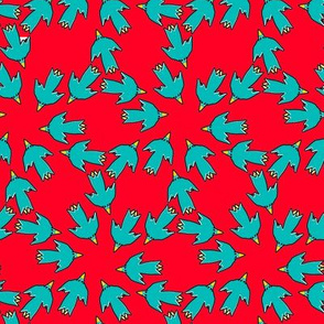 Circling and Triangling Blue Arrow Birds On Red