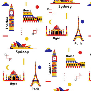 Colorful landmarks