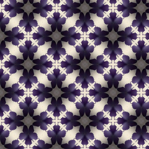 Purple Butterflies Cream Kaleidoscope Pattern