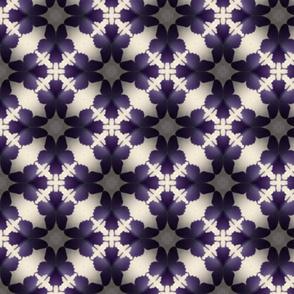 Purple Butterflies Cream Kaleidoscope Pattern