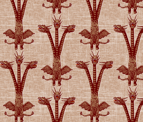 dragon on brown fabric by susiprint on Spoonflower - custom fabric