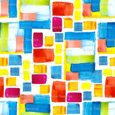 An abstract modern vivid patchwork pattern. Bauhaus movement