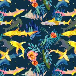 Lemon Sharks in Watercolor