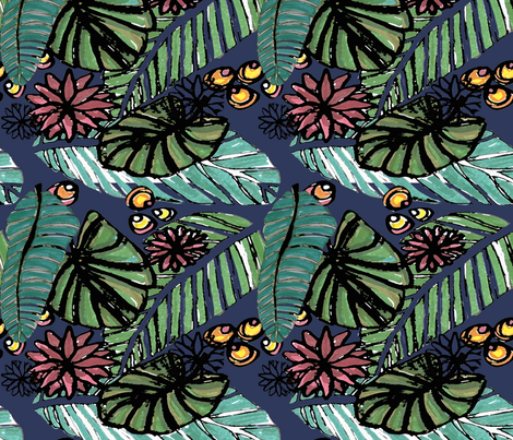 Watercolored emerald forest navy fabric by lorloves_design on Spoonflower - custom fabric