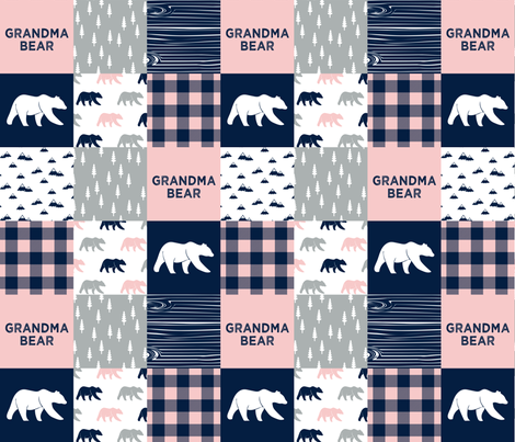 grandma bear - patchwork woodland wholecloth - pink and navy fabric by littlearrowdesign on Spoonflower - custom fabric